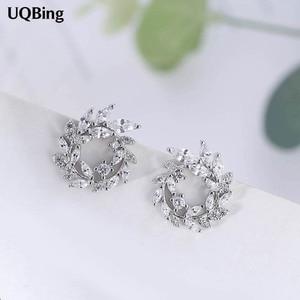 2018 Fashion 925 Sterling Silver Round Rhinestone Stud Earrings Jewelry Pendientes Brincos Fashion Jewelry