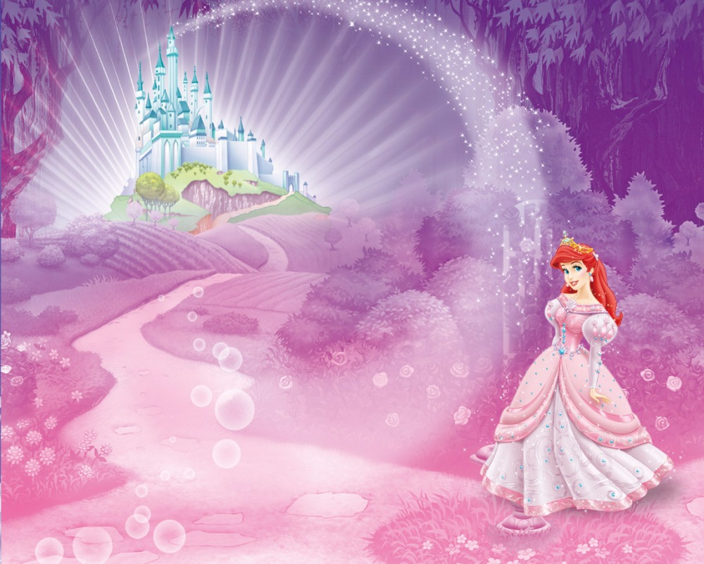 7x5FT Light Pink Hill Castle Little Mermaid Ariel Princess Sparkles Custom Photo Studio Background Backdrop Vinyl 220cm X 150cm In From Consumer