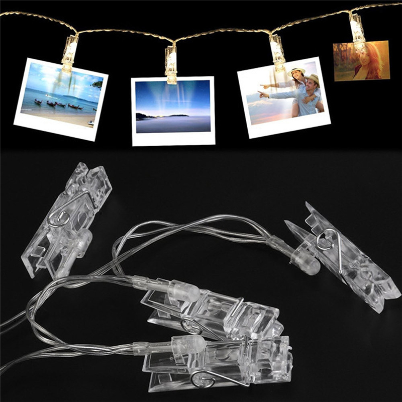 20 LED MultiColor Card Photo Clip Lamp Battery Box Wedding Home Decoration Romantic Home Decor Lights Wedding Decor Drop Ship