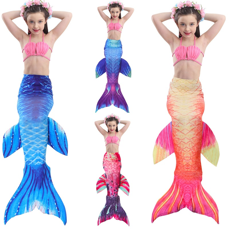 Girl mermaid tail swimming child mermaid costume swimming child swimsuit No Monofin Mermaid tail playing girl swimming cosplay
