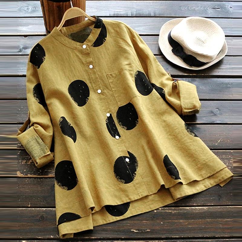 2018 ZANZEA Autumn Women Polka Dot Blouse Casual Buttons Down Long Sleeve Work OL Shirt Cotton Linen Loose Top Blusas Plus Size