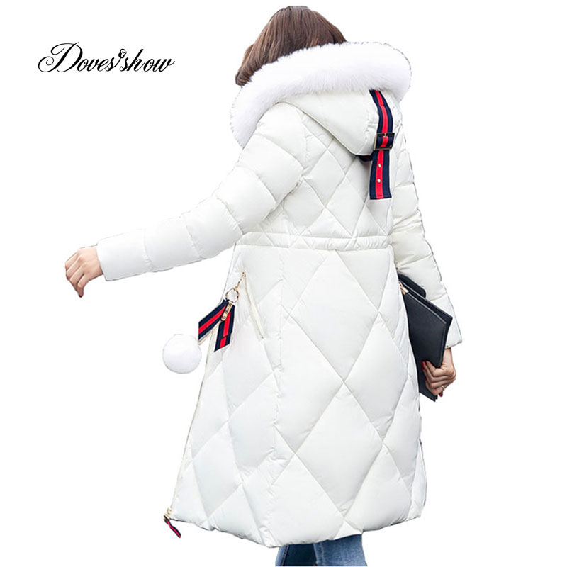Solid Color Long Women Winter Jacket Women Fashion Padded Coat Hooded Fur Collar Overcoat Women Parka Wadded Casaco Feminino 927 hooded long printing casaco feminino inverno 2017 warm thicken cotton padded winter jacket women female coat parka women s