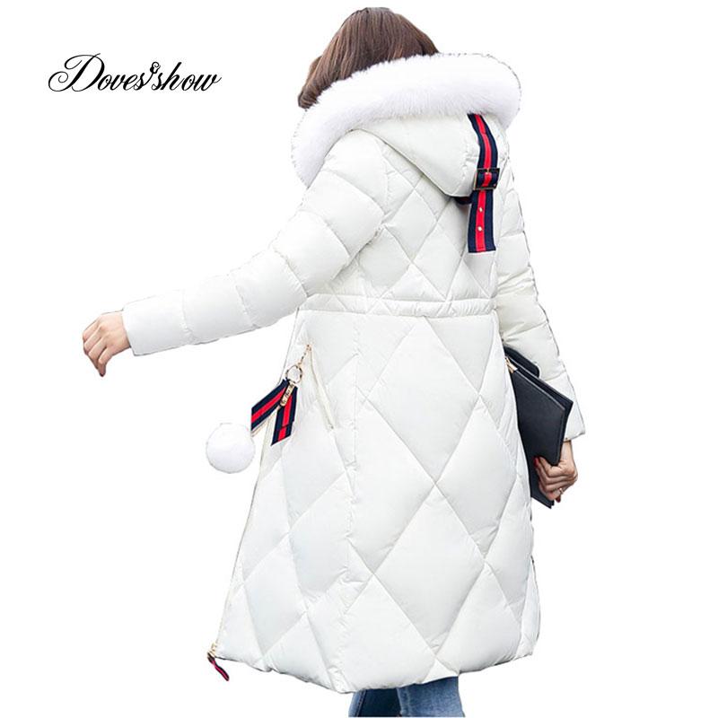 Solid Color Long Women Winter Jacket Women Fashion Padded Coat Hooded Fur Collar Overcoat Women Parka Wadded Casaco Feminino 927