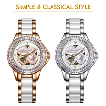 BUREI Watch Women Special Flower Pattern Lady Hours Waterproof Ceramic Band Sapphire Automatic Mechanical Wristwatches Hot Sale
