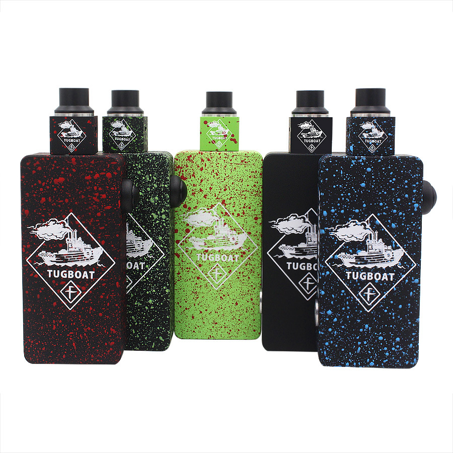 Tugboat Box Mod Start Kit with Colorful Tugboat Cubed RDA Mechanical Desgin House 2 18650 Battery