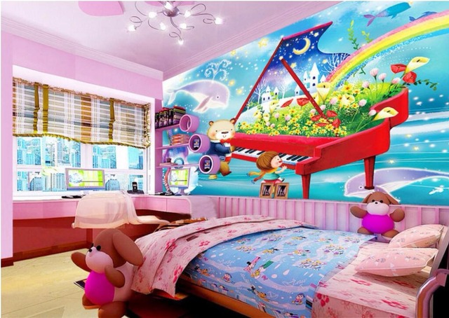 Custom Mural Photo Wall Paper Cartoon Piano Music Little Bear Children S Decor Painting