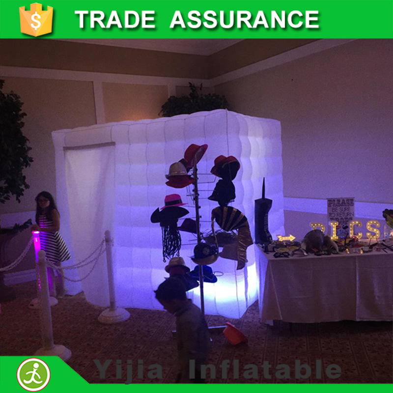 hot sale free shipping inflatable cube tent led photo booth enclosure with fan