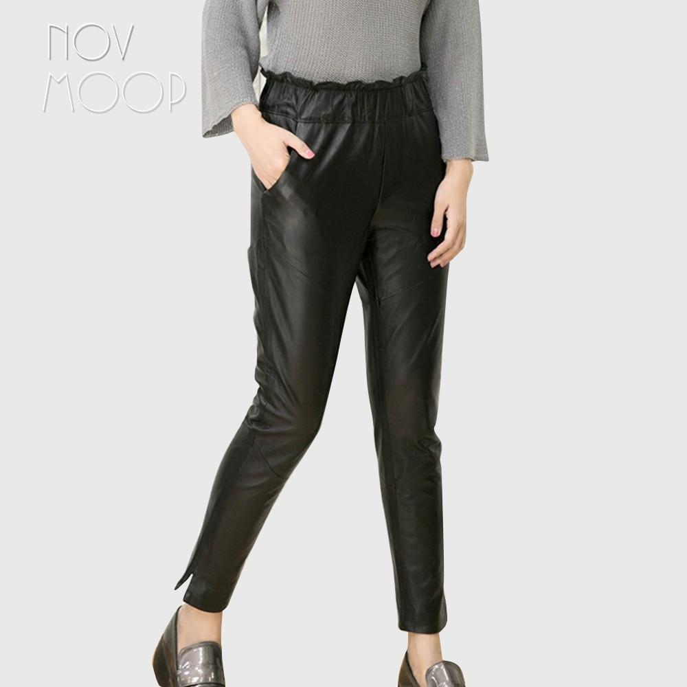 Lt2375 Encima Pantalon Cuero Pic Tamaño Plus Los Por De Mujer Negro Las Tobillos Ajustados Cordero Piel Mujeres Per Genuino Black Lápiz Real Pantalones CPxqwfHZ