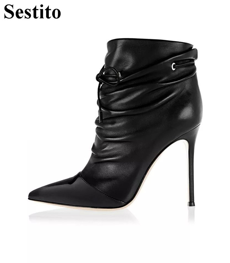 Black Patchwork Pleated Woman Boots Pointed Toe Ankle Boots For Women Thin Heels Short Boots Lace-up Women Shoes Spring/AutumnBlack Patchwork Pleated Woman Boots Pointed Toe Ankle Boots For Women Thin Heels Short Boots Lace-up Women Shoes Spring/Autumn
