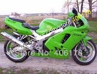 Sıcak Satış, Tüm yeşil fairing KAWASAKI NINJA ZX9R 94 95 96 97 ZX-9R 1994 1995 1996 1997 ZX 9R 9 R Özel Kaporta Fairing