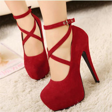 Women Spring Autumn Sexy Black Blue Red Suede Belt Buckle Round Toe Platform 5 Inches High Heel Shoes Ladies Pumps for Woman F18