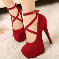Women Spring Autumn Sexy Black Blue Red Suede Belt Buckle Round Toe Platform 5 Inches High