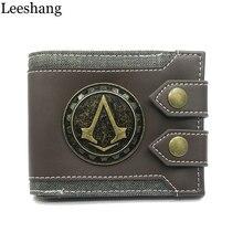 Leeshang Для мужчин кошелек Assassins Creed кошелек Для мужчин кошелек Малый Винтаж бумажник бренд Высокое качество дизайнерские Короткие Кошелек DFT-1479