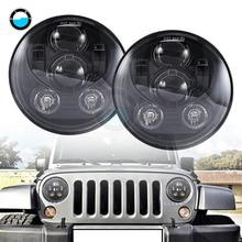 2 pcs 7'' Round led headlight For Jeep Wrangler JK H4 7 inch 45W LED Projector headlights for Land Rover Defender TJ LJ.