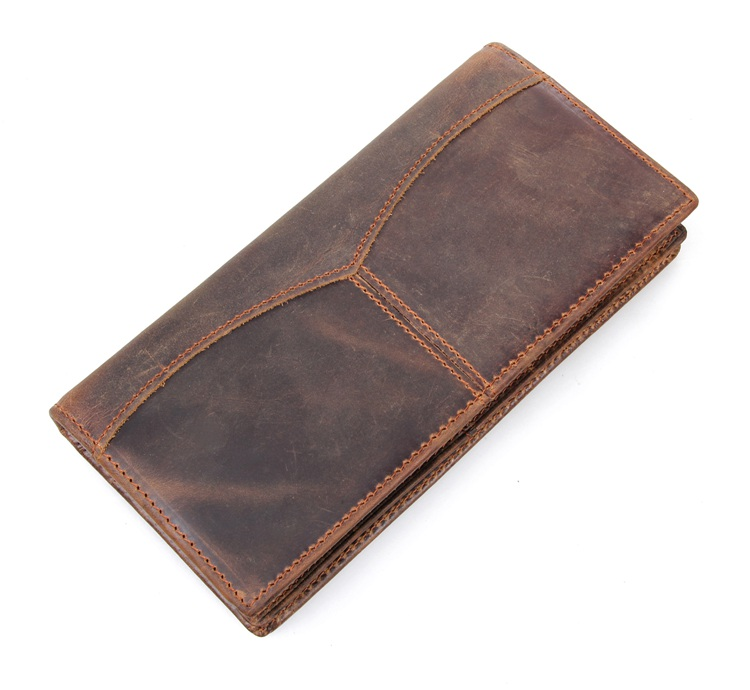 Vintage Brown Long Size 100 Guarantee Real Genuine Leather Men Wallets Cowhide Men Purse Crazy