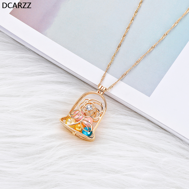 Beauty and the Beast Necklace Enchanted Rose in Terrarium Locket Pendant with Gold Chain Necklaces Pearls Cage Jewelry Wholesale locket