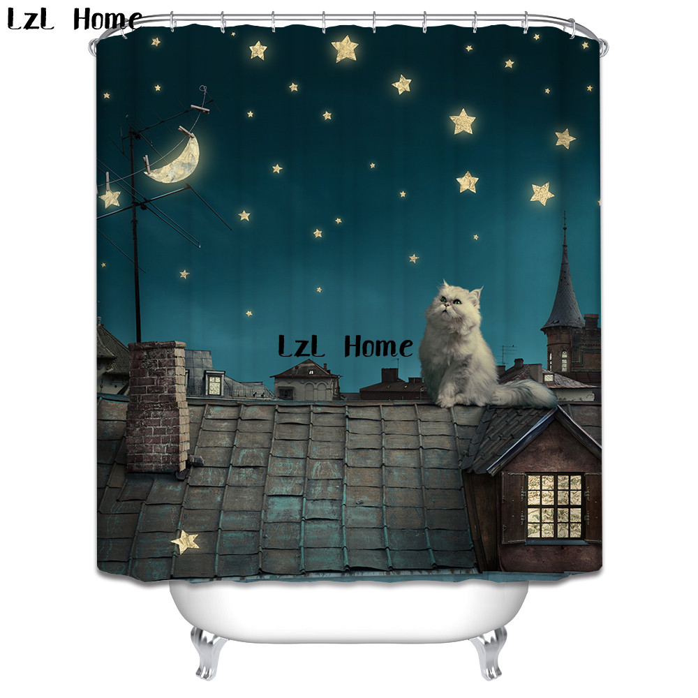 LzL Home Various Size Cute Cat Shower Curtain Polyester Waterproof Moldproof Bathroom Curtain With 12 Hooks Home Bathroom Decor zwbra shower curtain