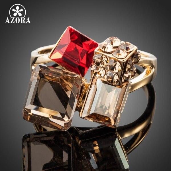 AZORA Exclusive Gold Color Multicolour Stellux Austrian Crystal Ring TR0091