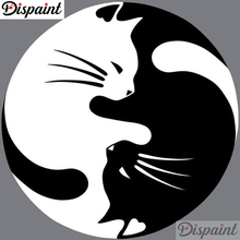 Dispaint Full Square/Round Drill 5D DIY Diamond Painting Round cat Embroidery Cross Stitch 3D Home Decor A10627