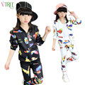 V-TREE 2016 fall girls clothing sets zipper coat+pants sport suit cartoon bird kids clothes set tracksuit for children size 6 8
