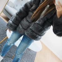 Sexy Women Winter Mink Fur Rabbit Fur Coat Ladies Gray black Faux Fox Fur Jacket Fur Bolero Short brown Coats Plus Size 4XL 5XL