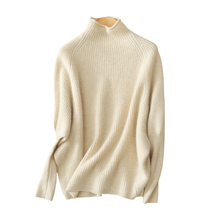 Women's 100% cashmere sweater pullover fashion solid color winter loose sweaters with half turtleneck long sleeves