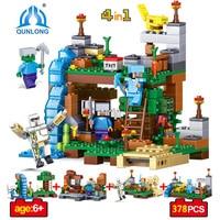 378pcs 4 In 1 Mine World Compatible Legoe Minecrafted City Figures Building Blocks DIY Garden Bricks