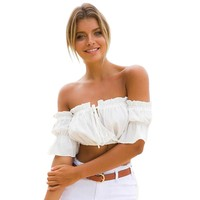 Summer 3 Colors Flare Sleeves Blouse Shirt Women Tops Boho Off Shoulder Crop Top Chemise Blusa