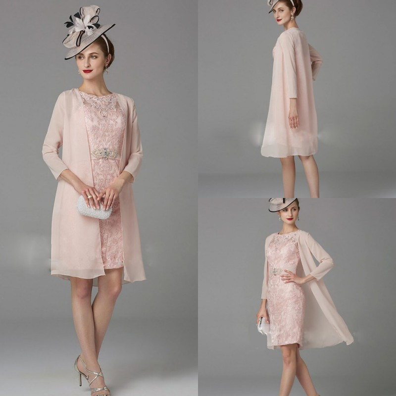 2019 Elegant Pink Mother Of The Bride Dresses Long Sleeves Chiffon 2 Pieces Evening Gowns Custom Knee-Length Prom Party Dress