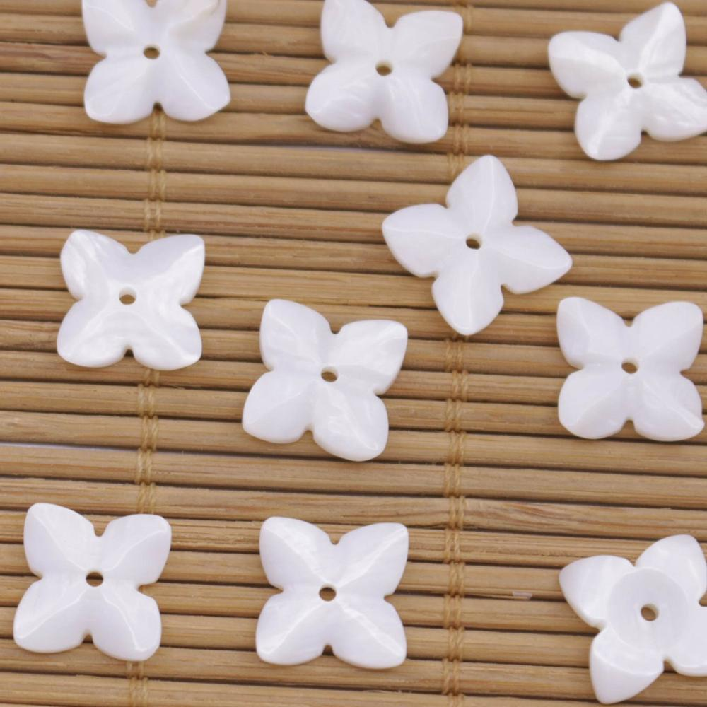 Купить с кэшбэком 10 PCS 14mm 4Petal Flower Shell Natural White Mother of Pearl Jewelry Making DIY