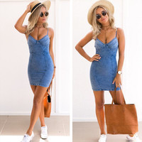 2019 Vadim Promotion New Arrival Casual Solid Sleeveless None Empire Summer Dress Sale Fishon Women Clothes Sexy Harness Cowboy