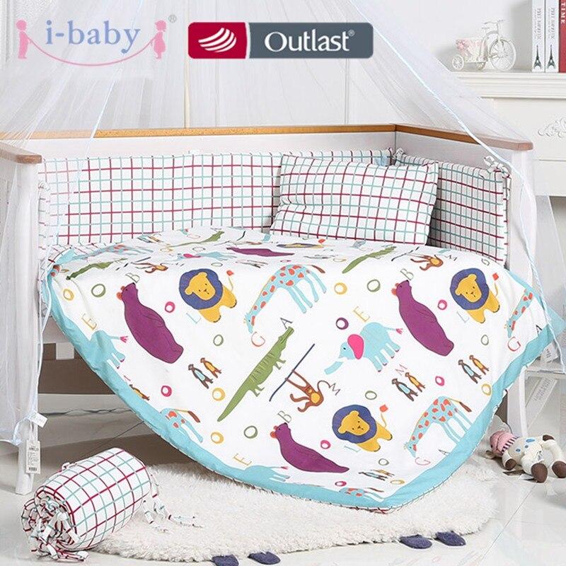 I baby/Комплект постельного белья для малышей, 9 шт., комплект для кроватки для новорожденных с забавными животными, хлопковая простыня с принт