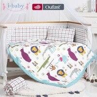 i baby Baby Bedding Set 9pcs Crib Set Newborn Fun Animals Cotton Printed Cot Sheet Duvet Pillow Quilt Set in Crib Boy Girl