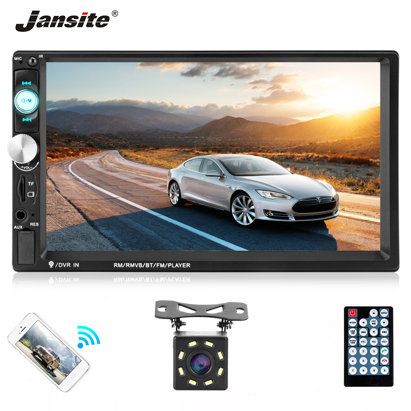 Jansite 7 2 DIN Car Radio MP5 player Touch screen BT USB Mirror link for iphone and Android car autoradio with 8LED Rear Camera