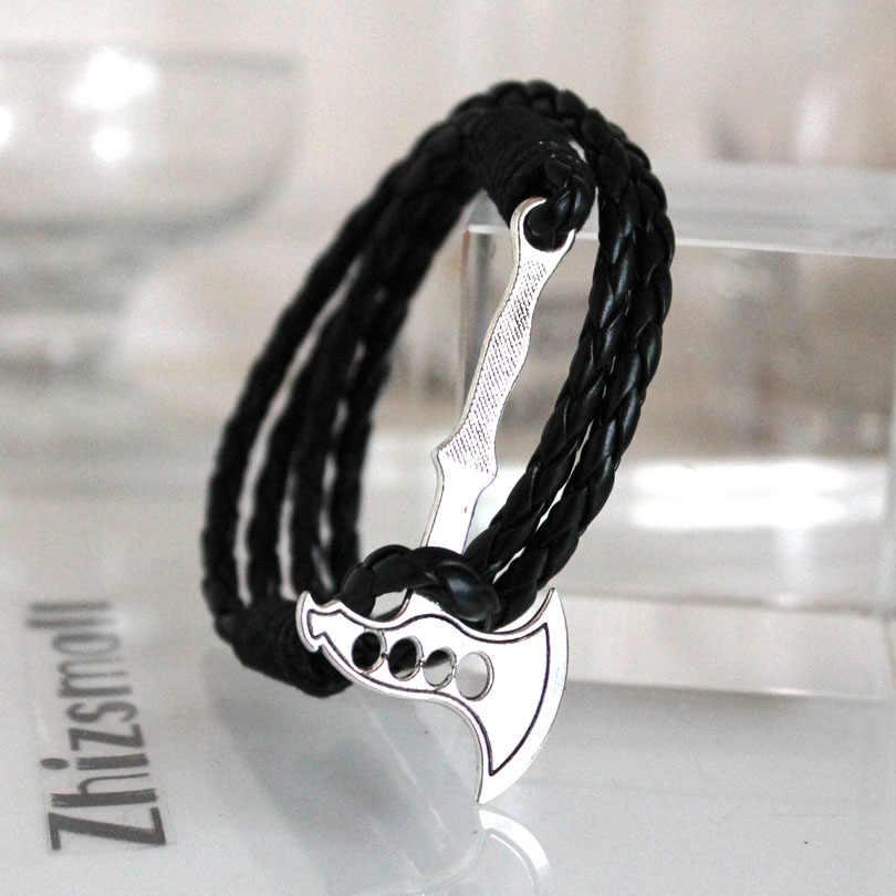 Viking Giant Axe Punk bransoletki czarna syntetyczna skóra bransoletka Vintage Retro topór dla kobiet mężczyzn prezent na boże narodzenie 40