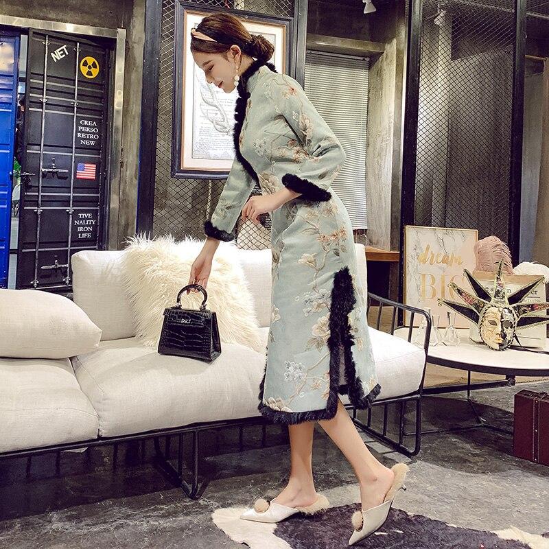 Col Chaud Vintage rembourré Chinois Mandarin Style Floral Femmes Robe Hiver Blue Quotidienne Qipao Longue Coton Épaississent Cheongsam Élégant Light Zgqf4d