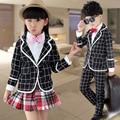 Selling new Korean children's checkered suits,Autumn girls,boys school uniform British style Children's Sets jacket+pants+Shirt