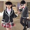 Venda de novos coreano das crianças xadrez ternos, Outono meninas, Uniforme escolar meninos estilo britânico das crianças define jacket + pants + camisa