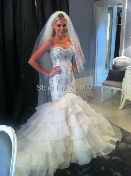 Extraordinary Style Tiered Crystals Corset Sexy Mermaid Dresses Wedding Open Back Country Western Bride Gown Vestidos