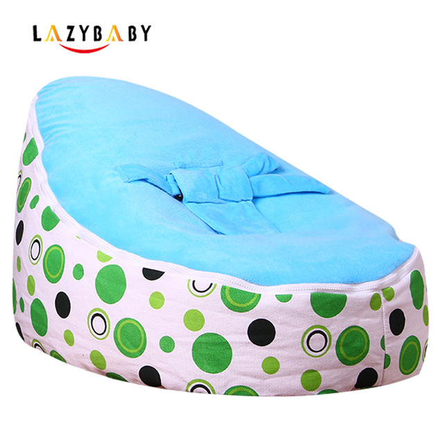 Lazybaby Medium Green Circle Baby Bean Bag Chair Kids Bed For Sleeping Folding Newborn Seat