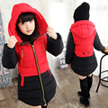 2016 Winter Children's Warm Jacket Kids Long Style Hooded Coat Big Virgin Plus Velvet Cotton Jacket Girl Thick Padded Outwear