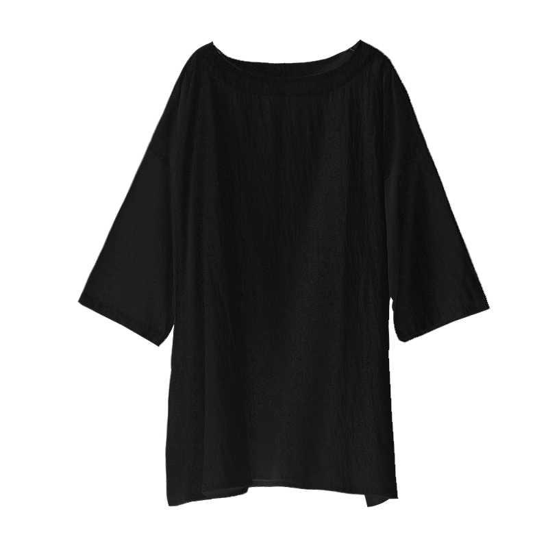 男性の夏の半袖ルーズカジュアルブラックホワイトコットンリネン Tシャツ男性ストリートパンクヒップホップ Tシャツプルオーバー Tシャツシャツ