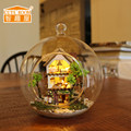 DIY Wooden Dollhouse Miniature 3D Kits Island Forest Hut Handmade Glass Ball For Children Toys dolls house