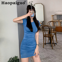 Plus Size 2019 Summer Streetwear Blue Dress Women Short Sleeve High Elastic Mini Dresses Ladies Solid Sheath Wrap Dress Women