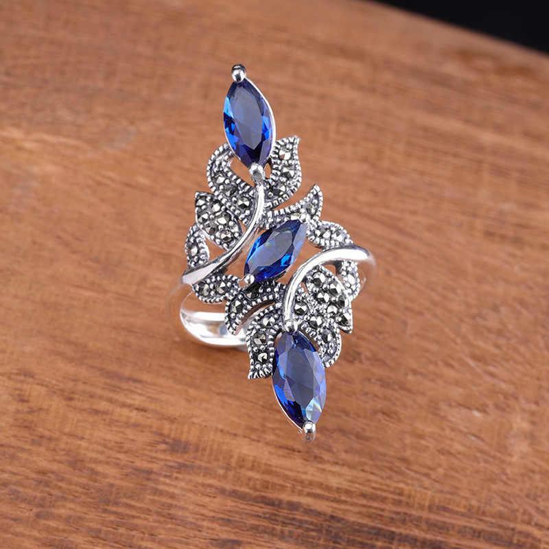 Hàng Mới Về Vintage Xanh Đá Nhánh Nhẫn Nữ Cổ Màu Bạc Rỗng Crystal Vòng Lớn Tiệc Cưới Món Quà Trang Sức