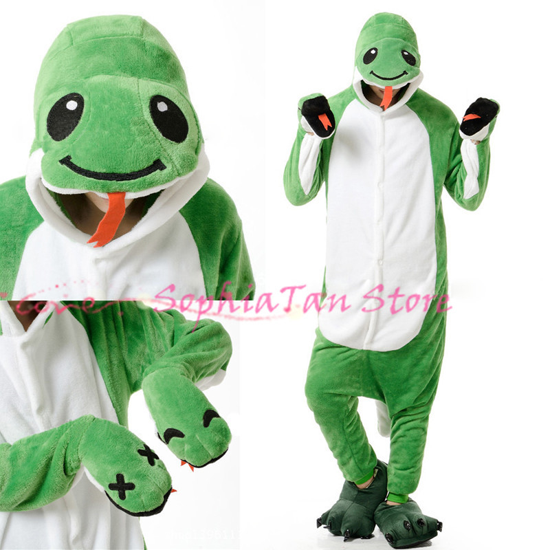 Anime Animal Snake Onesie For Adult Women Men Pajamas Costume Cosplay Christmas Halloween Dress Party Flannel Outwear/Sleepers