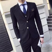 1262385a8495cf Formal Office Business Working Men Suits Bespoke Black/White Blazer  Gentlemen WeddingTuxedos(Jacket+Pant+Vest+Handkerchiefs+Tie)
