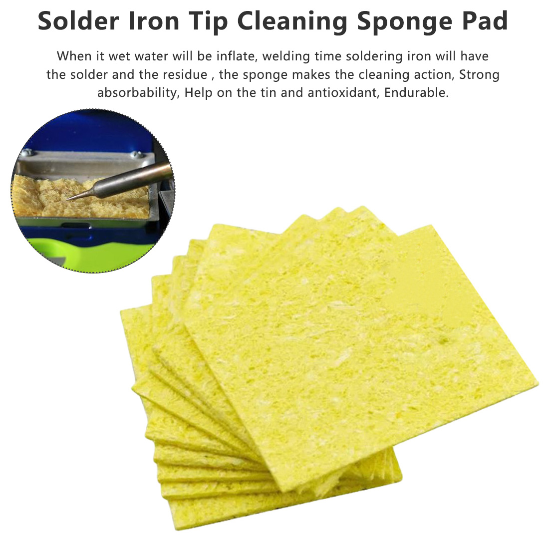 10pcs Enduring Heatstable Thick Soldering Iron Cleaning Replacement High Temperature Resistant Sponges Welding Accessories