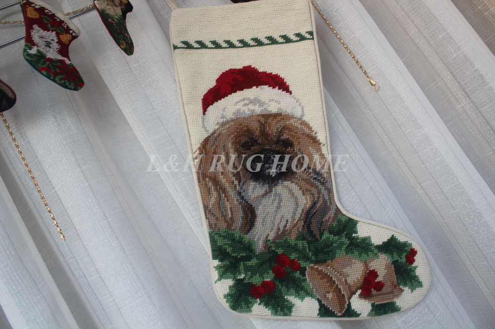 Free Shipping Christmas Needlepoint Socks Hand knotted Merry Christmas Stocking Sock Cute Dogs Design Stocking Socks 28X43CMFree Shipping Christmas Needlepoint Socks Hand knotted Merry Christmas Stocking Sock Cute Dogs Design Stocking Socks 28X43CM