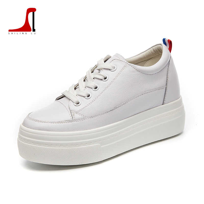 c920f3b9 SAILING LU Women Genuine Leather Shoes Female White Shoes Platform Sneakers  Increase Ladies Daily Outdoor Casual Shoes XWC1546